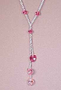 Shades of Pink Chained Swarovski Hearts & SS (Image1)