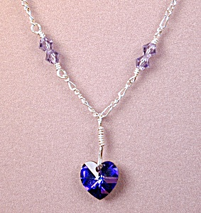 Swarovski Heliotrope Heart & Ss Necklace