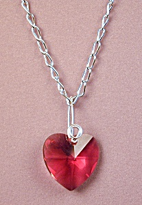 Swarovski Bordeaux Heart Pendant Necklace