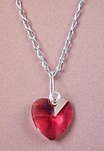 Swarovski Bordeaux Heart Pendant Necklace (Image1)