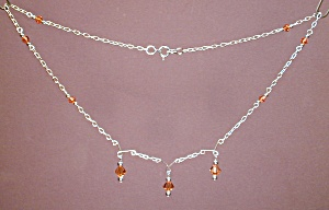 Ss & Swarovski Topaz Crystal Necklace
