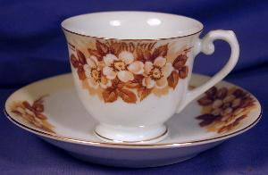 Occupied Japan Brown Transfer Demitasse C&s