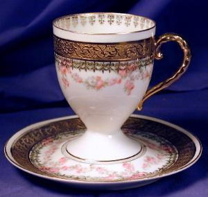 Royal Bayreuth white with gilt cup & saucer 2 (Image1)