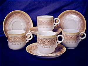 Royal Worcester yellow & tan demitasse set (Image1)