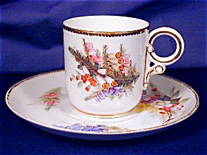 Royal Worcester Floral hand painted demi c&s (Image1)