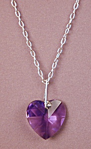 Swarovski Blue Violet Heart Pendant & SS (Image1)