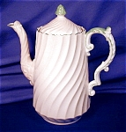 Click to view larger image of Aynsley Pink Swirl Fluted Coffee Pot (Image1)