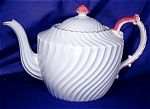 Click here to enlarge image and see more about item AYN048: Aynsley Pale Aqua Blue Swirl Fluted Teapot