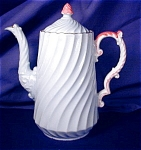 Click here to enlarge image and see more about item AYN051s: Aynsley light blue Coffee Pot & demis.