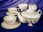 Belleek Neptune green tint Tea for Two Set