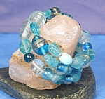 Click here to enlarge image and see more about item BRGL010: Shades of Aqua Lampwork Glass Wrap Bracelet