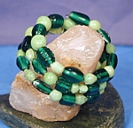 Click to view larger image of Shades of Peridot & Emerald Lampwork Glass Wr (Image1)
