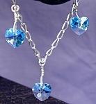Click to view larger image of Swarovski Shades of Aqua & SS Bracelet (Image1)
