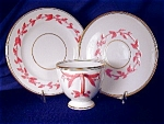 Click here to enlarge image and see more about item ENG061: Pink & White Relief Molded Dessert Set