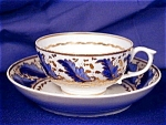 Click here to enlarge image and see more about item ENG064: Derby Blue Feathers cup & saucer