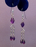 Amethyst Flat Diamond & SS earrings