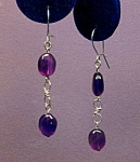 Amethyst Ovals & SS figure 8 earrings