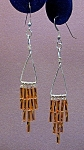 SS Triangle & Gold Twisted Bugle Bead Dangles