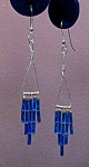 SS Triangle & Aqua Twisted Bugle Bead Dangles