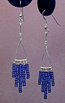 Click here to enlarge image and see more about item ERSD001: SS Triangle & Cobalt Seed Bead Dangles