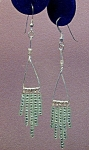 Click here to enlarge image and see more about item ERSD003: SS Triangle & Peridot Green Seed Bead Dangles