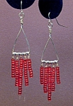 Click to view larger image of SS Triangle & Ruby Red Seed Bead Dangles (Image1)
