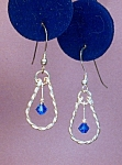 Click here to enlarge image and see more about item ERSW004CB: Swarovski Capri Blue & Twisted SS earrings