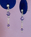 Click here to enlarge image and see more about item ERSW010TN: Swarovski Tanzanite & SS Drop Earrings