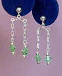 Click here to enlarge image and see more about item ERSW013P: Swarovski Peridot & SS Mini Chandeliers