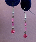 Click here to enlarge image and see more about item ERSW015F: Swarovski Fuscia bicone & seed bead earrings