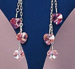 Click here to enlarge image and see more about item ERSW023m: Chained Swarovski Hearts & SS Shades of Pink