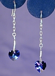 Click here to enlarge image and see more about item ERSW024Hab: Chained Swarovski  Heliotrope Hearts & SS