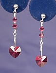 Click to view larger image of SS & Swarovski Garnet Heart earrings (Image1)