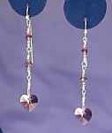 Click here to enlarge image and see more about item ERSW027A: SS & Swarovski Amethyst Hearts earrings