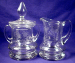 Click here to enlarge image and see more about item GLS011: Etched glass large creamer & covered sugar