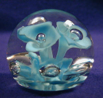 Click here to enlarge image and see more about item GLS015: Sprouting Blue Flowers Glass Paperweight