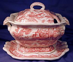 Small red transfer tureen with lid & tray