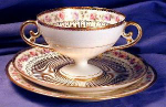 Click here to enlarge image and see more about item LIM003: Limoges gilt bouillon cup trio 1