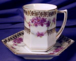 Click to view larger image of Hexagonal demi-tasse/chocolate cup & saucer (Image1)
