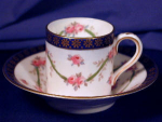 Click to view larger image of Rose & vine demi-tasse cup & saucer (Image1)