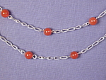 Click here to enlarge image and see more about item NKCRN001: Carnelian & SS Link necklace