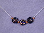 Click here to enlarge image and see more about item NKGL002: Cobalt/Copper LampWork glass/Goldstone Neck.