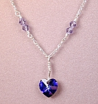 Click here to enlarge image and see more about item NKSW013HTN: Swarovski Heliotrope Heart & SS Necklace