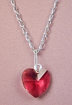 Click here to enlarge image and see more about item NKSW014BX: Swarovski Bordeaux Heart Pendant Necklace