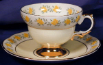 Rosina Yellow Roses enameled & gilt c&s