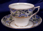 Click here to enlarge image and see more about item ROS011: Rosina blue floral cup & saucer trio