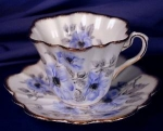 Click here to enlarge image and see more about item ROS019: Rosina Blue Flowers cup & saucer