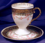 Click here to enlarge image and see more about item RYLBR004: Royal Bayreuth white with gilt cup & saucer 4