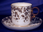 Click here to enlarge image and see more about item RYLWR005: Royal Worcester brown ivy transfer demi c&s