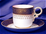 Click here to enlarge image and see more about item RYLWR032: Royal Worcester pink interior demitasse c&s